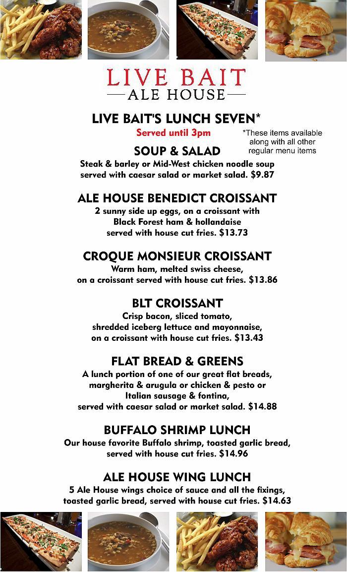 Lunch Menu Live Bait Ale House 2016